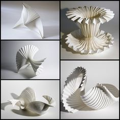Pleated Paper Sculptures paper art with striking architectural structures paper manipulation Richard Sweeney Origami And Kirigami, Origami Paper, 3d Paper Art, Paper Crafts, Paper Paper, Paper Artwork, Papercut Art, Paper Structure, Paper Architecture