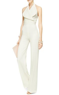 Wool-Crepe Halterneck Jumpsuit by Emilia Wickstead / Appropriate Clothes For Work In The Heatwave or Dressing Professionally During The Warmer Months Business Casual Attire Spring Summer Outfits Summer Spring Fashion White Fashion, Look Fashion, Womens Fashion, Fashion Design, Curvy Fashion, Spring Fashion, Fashion Trends, Casual Jumpsuit, White Jumpsuit