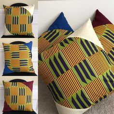 Give your interior a beautiful African and cultural flavor with these cushions.Description:Dimension: x / 45 cm x 45 cmPolyester kente fabric Also available with a Blue and Bordeau trimGreat housewarming gift, wedding gift or home .