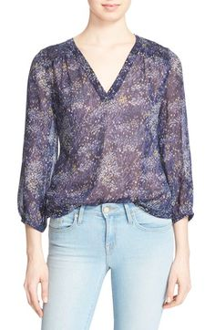 JOIE 'Axcel' Floral Print Silk Blouse. #joie #cloth #