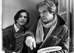 Truffaut and his onscreen surrogate, Jean Pierre Leaud    Truffaut was not only a brilliant auteur, but he also looked  really good in leather jackets, which is almost as important as helping re-invent French cinema, if you ask me.