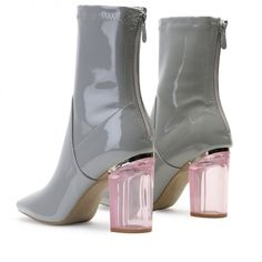 1e4a462aef7 Chloe Perspex Heeled Ankle Boots in Grey