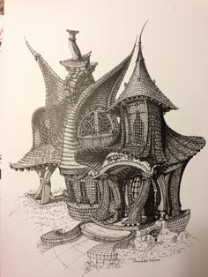 Shawn Fishers whimsical drawing of a cottage