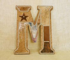 Custom Cowhide Wall Letter M by Lizzy & Me. Handcrafted in the U.S.A.