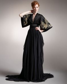 Alexander Mcqueen Black Kimono Gown -- I can so see Airelle wearing this!!