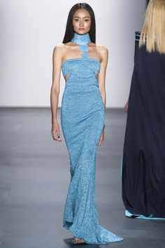 Shimmering blue halter-neck gown by Zang Toi @ New York Fashion Week Spring Summer '16 #fashionweek #zangtoi #rendezvousdelamode #couture #blue #sequin #dress #halter #silhouette #ornament #peakaboo