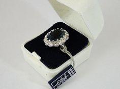 366) Vintage Attwood & Sawyer faux diamond & sapphire dress ring – size K – new in case Est. £10-£20