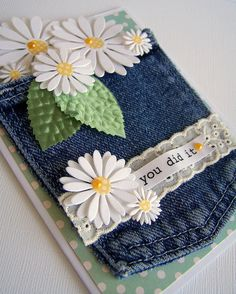 Recycling jeans pocket for a greetings card!