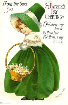 St Patrick's Day Fabric Block Vintage Postcard on Fabric Irish Girl Shamrock St Patrick's Day, Vintage Greeting Cards, Vintage Postcards, St Patricks Day Cards, Erin Go Bragh, Images Vintage, Vintage Retro, Vintage Witch, Irish Girls