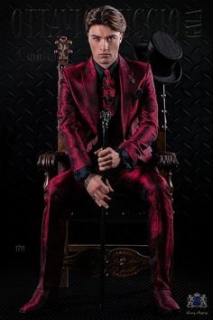Italian fashion bespoke red gothic jacquard suit with peak lapels and 1 button. Modern Tuxedo, Modern Suits, Formal Suits, Tuxedo For Men, Red Tuxedo, Modern Mens Fashion, Mens Fashion Suits, Mens Suits, Mens Red Suit
