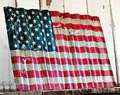 AMERICAN FLAG - Reclaimed, painted and distressed metal sign- Industrial, Rustic, Home Decor, Wall Art, Patriotic