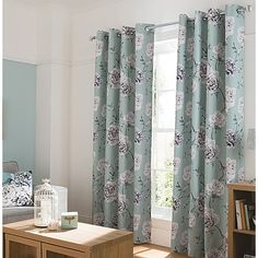 George Home Duck Egg Floral Curtains | Home & Garden | George at ASDA