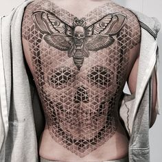 Skull and butterfly full back tattoo - 100 Awesome Back Tattoo Ideas