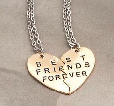 9fcc205396cf BFF  Best Friends Forever  Gold Color 2-in-1 Break Heart Pendant