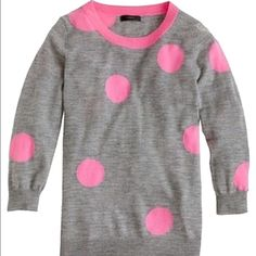 J.Crew Tippi polka dot sweater size XXS In excellent condition! 100% merino wool grey sweater with big pink polka dots. J. Crew Sweaters Crew & Scoop Necks