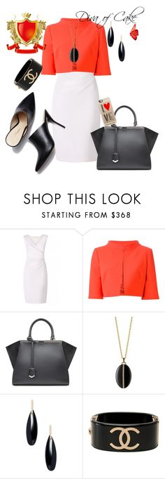 """White orange and black outfit"" by Diva of Cake on Polyvore featuring Diane Von Furstenberg, Alberta Ferretti, Fendi, Monica Rich Kosann, Janis Savitt, Chanel and Casetify"