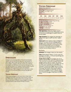 DnD Homebrew — Witcher Monsters by Regerem Dnd Dragons, Dungeons And Dragons 5e, Dungeons And Dragons Homebrew, Forest Creatures, Magical Creatures, Fantasy Creatures, Plant Monster, Dnd 5e Homebrew, Dnd Monsters
