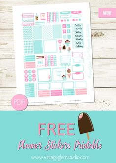 Free Printable Neapolitan Planner Stickers for the Mini Happy Planner from Vintage Glam Studio