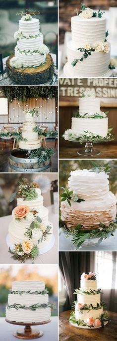 beautiful floral greenery wedding cake ideas for 2017