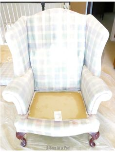 We got up our nerve and painted a wing chair. After the second coat. Painting Fabric Furniture, Paint Upholstery, Funky Furniture, Paint Furniture, Repurposed Furniture, Furniture Projects, Furniture Makeover, Home Furniture, Paint Fabric