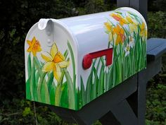 Painted Mailbox  EXTRA LARGE size with Yellow