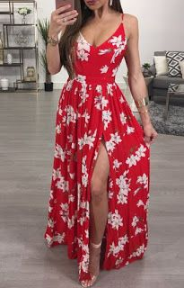Floral Print Deep V Strappy High Slit Pleated Maxi Dress Dress Outfits, Casual Dresses, Fashion Dresses, Summer Dresses, Long Dress With Slit, Slit Dress, Look Fashion, Fashion Tips, French Fashion