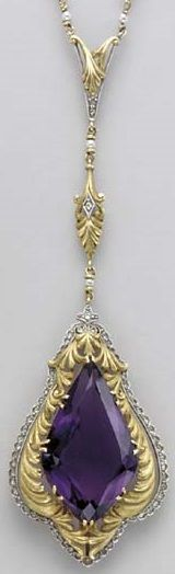 AN ART NOUVEAU AMETHYST, DIAMOND, SEED PEARL AND GOLD PENDANT FRAGMENT. 1 fancy-shaped amethyst, 35 table-cut diamonds, 4 seed pearls. Circa 1900.