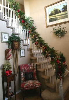 """deck the stairs"" for Christmas.. Designed by Becky Doane/Doane Designs  www.doanedesigns.net"