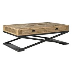 Luxe Elm Parquet Reclaimed Wood Coffee Table
