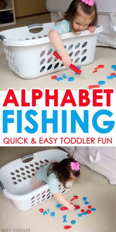 ABC Fishing: Easy Toddler Alphabet Game - what a fun indoor activity for toddlers! A science, math, and motor skills activity for toddlers. Such a fun quick and easy activity!