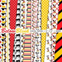 Mickey Mouse Digital Paper Pack, Scrapbook Papers, 12 jpg files 12 x 12 - Instant Download - DP352