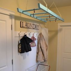 Awesome!  Hanging old ladder as drying rack.  Love it!