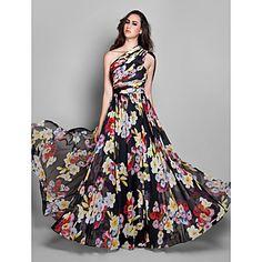 Evento+Formal+Vestido+-+Elegante+/+Floral+Funda+/+Columna+Sobre+un+Hombro+Hasta+el+Suelo+Raso+con+Recogido+Lateral+/+Fruncido+–+USD+$+109.99