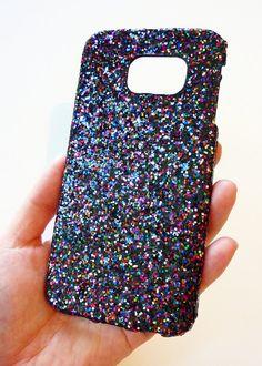 Samsung Galaxy S 6 s6 EDGE Black Multicolor Glitter Super Sparkly Shine Sparkle Handmade Case Cover Cell Phone Mobile Phone by Yunikuna