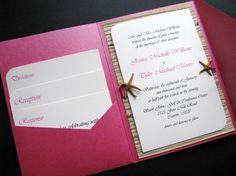 Destination Wedding Pocket Invitation, Beach Wedding, Seaside Wedding, Starfish and Natural Woven Fiber Paper on Etsy, $9.00
