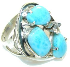 $78.50 Secret!! Light Blue Larimar Sterling Silver Ring s. 10 at www.SilverRushStyle.com #ring #handmade #jewelry #silver #larimar