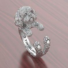Shih Tzu Breed Jewelry Cuddle Wrap Ring