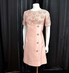 1960s dress / Vintage 60's Dress - Heavily Beaded Rhinestones Pink Cocktail Dress