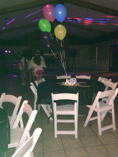 The helium balloons with glow sticks worked great as center pieces and we just put the extra glow sticks on the tables. Too cute!!!