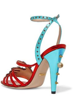 Gucci - Embellished Metallic Leather Sandals - Red - IT41