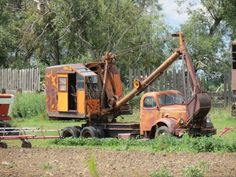 REO truck and excavator