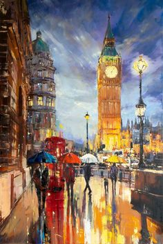 Buy 'Big Ben', Oil painting by Ewa Czarniecka on Artfinder. Discover thousands of other original paintings, prints, sculptures and photography from independent artists. London Painting, City Painting, Oil Painting Abstract, Art Watercolor, Abstract City, London Art, London Food, Paintings For Sale, Original Paintings