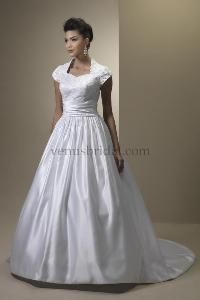 Modest Wedding Dress See More Do You Need POCKETS This One Has It Lace Applique Queen Anne Bodice