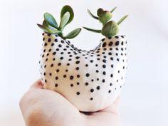 White and Black Ceramic Vase  Ceramic Planter  by PotteryLodge.