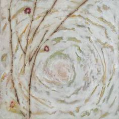 joint compound for texture, w embossed fresh plants Bloom, 12″ x 12″, Encaustic, mixed media