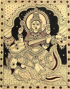 Saraswati - Folk Art Paintings (Kalamkari Paintings on Cotton - Unframed) Saraswati Painting, Madhubani Painting, Worli Painting, Fabric Painting, Painting Styles, Traditional Paintings, Traditional Art, Hindus, Saraswati Picture