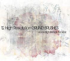 12 High-Resolution Grunge Texture subtle Photoshop Brushes