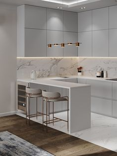 Apartment in Moscow on Behance Luxury Kitchen Design, Kitchen Room Design, Home Room Design, Kitchen Cabinet Design, Home Decor Kitchen, Interior Design Kitchen, Kitchen Design Minimalist, Modern Small Kitchen Design, Kitchen Modern