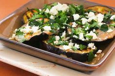 It's eggplant season, and this Grilled Eggplant Recipe with Garlic-Cumin Vinaigrette, Feta, and Two Herbs is deliciously low-carb! [from KalynsKitchen.com] #LowCarb #GlutenFree #Eggplant