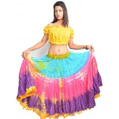 New Cotton Gypsy Skirt 4 Tier 25 Yard Belly Dance Tribal Jupe Flamenco Boho ATS